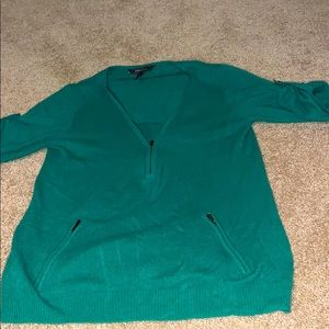 """100% cashmere sweater with 3/4"""" sleeves,front zip"""